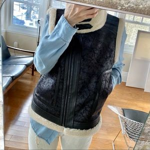 NWOT Joie Leather & Shearling Vest